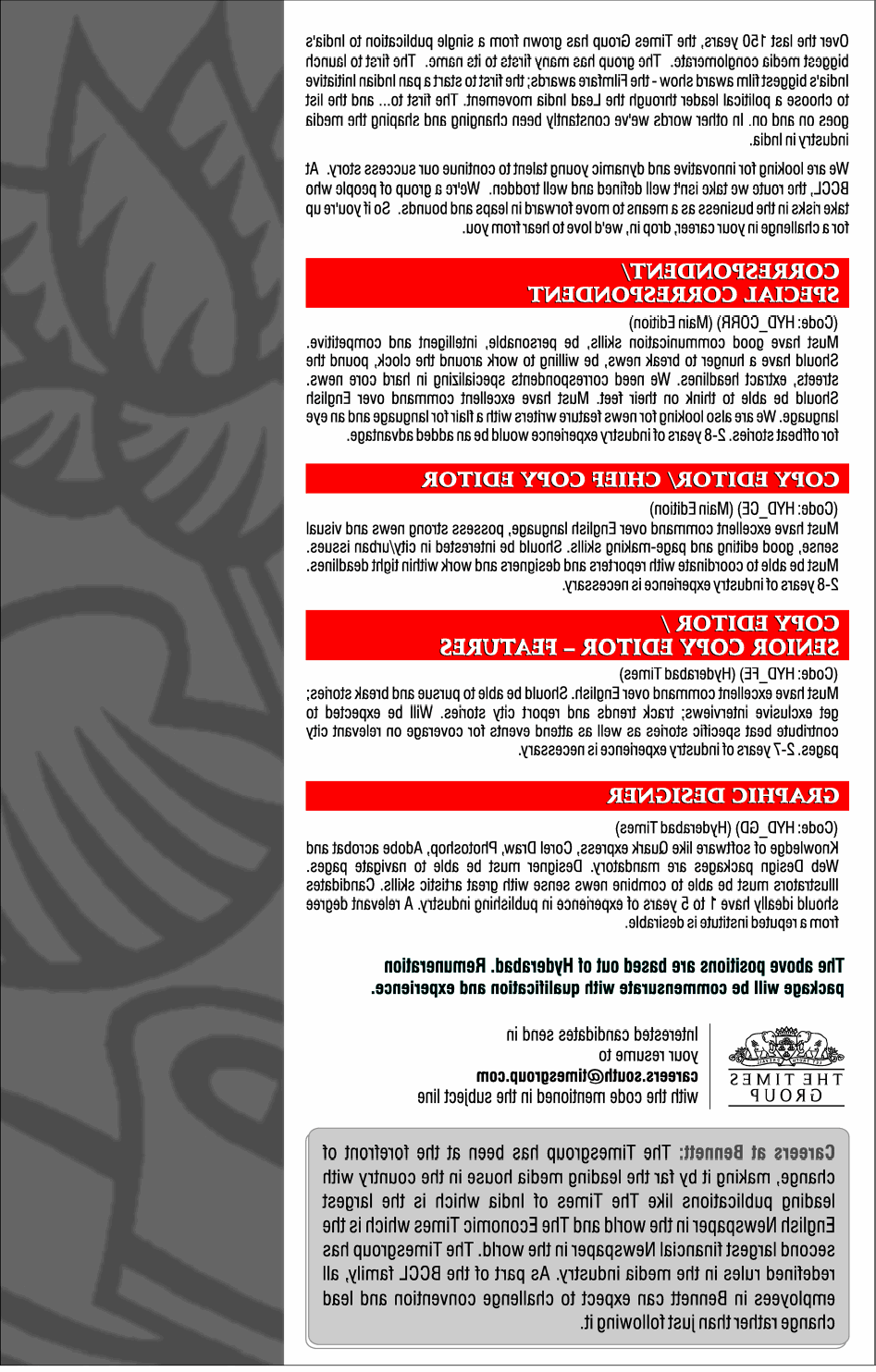 Jobs in times of india