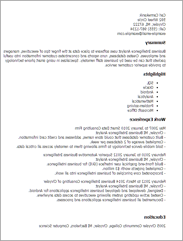 What to include on resume for business intelligence
